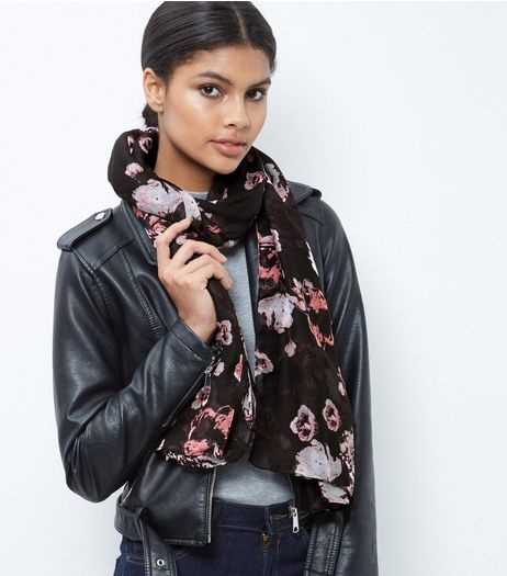 Black Floral Print Longline Scarf | New Look