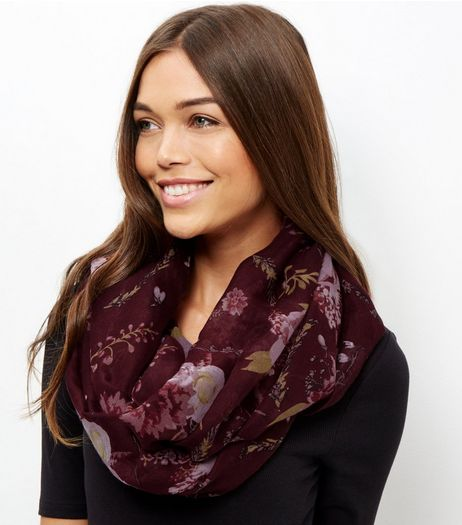 Burgundy Floral Print Snood | New Look