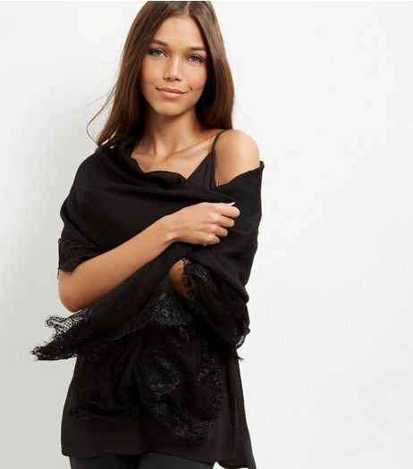 Black Lace Trim Longline Scarf | New Look