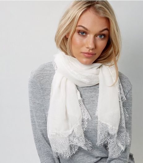 Cream Lace Trim Longline Scarf | New Look