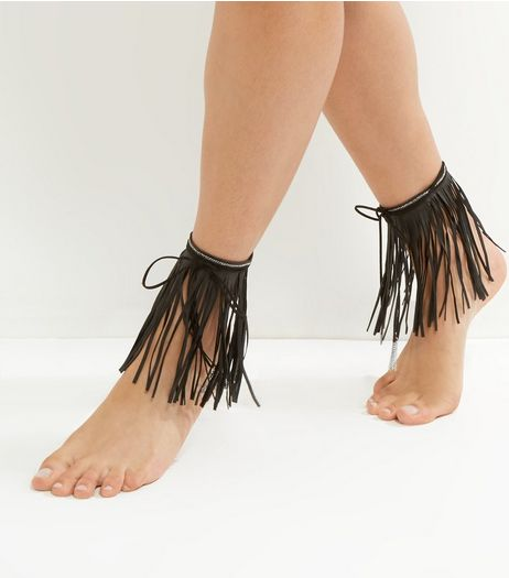 Black Tassel Anklets | New Look