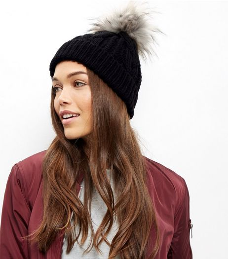 Black Faux Fur Pom Bobble | New Look