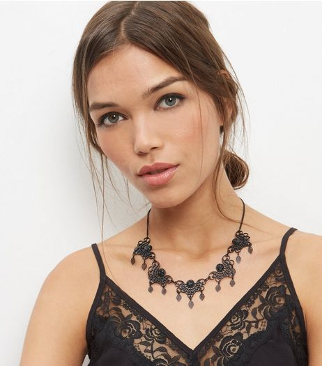 Black Filigree Beaded Necklace | New Look