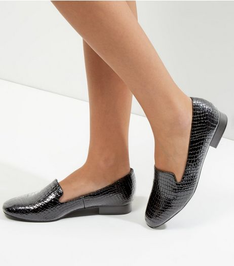 Wide Fit Black Patent Croc Texture Mules | New Look