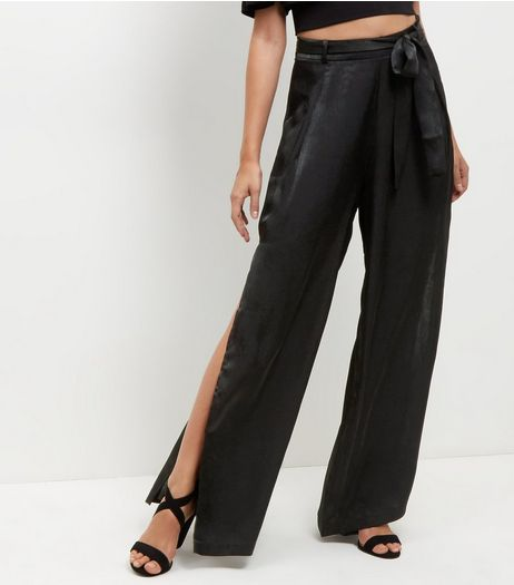 Cameo Rose Black Belted Split Side Trousers | New Look