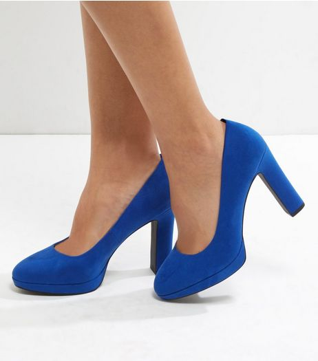 Wide Fit Bright Blue Suedette Platform Court Shoes  | New Look
