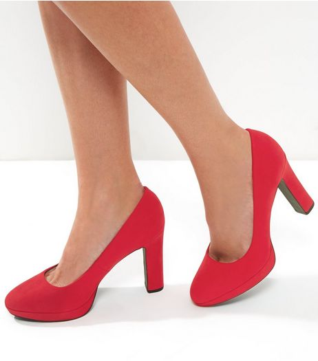 Wide Fit Red Suedette Platform Court Shoes | New Look