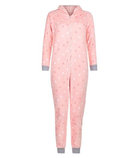 Teens Pink Heart Print Hooded Onesie | New Look