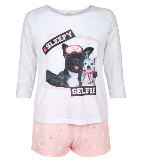 Teens Pink Sleepy Selfie Pyjama Set | New Look