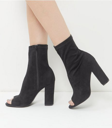 Wide Fit Black Peep Toe High Ankle Boots | New Look