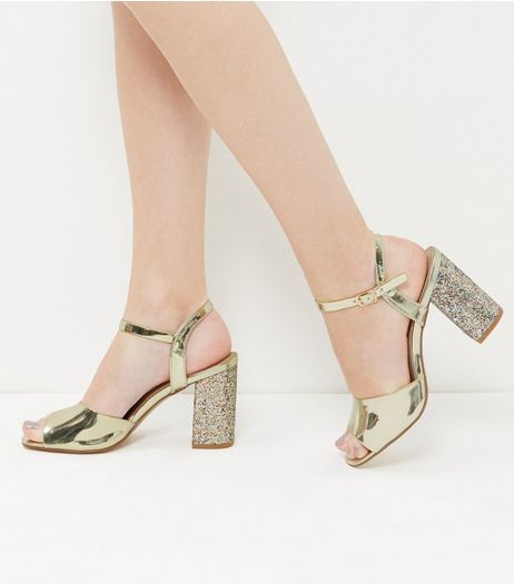 Wide Fit Gold Glitter Block Heels | New Look