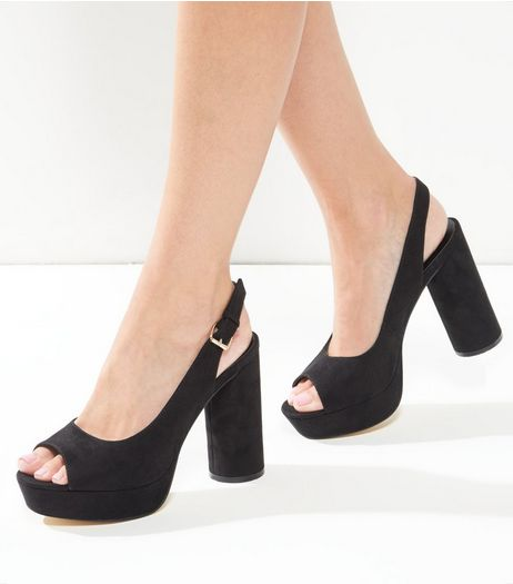 Wide Fit Black Slingback Block Heel | New Look