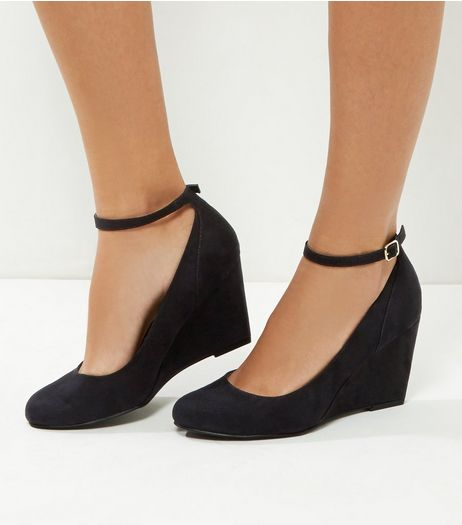 Wide Fit Comfort Black Suedette Ankle Strap Wedges | New Look