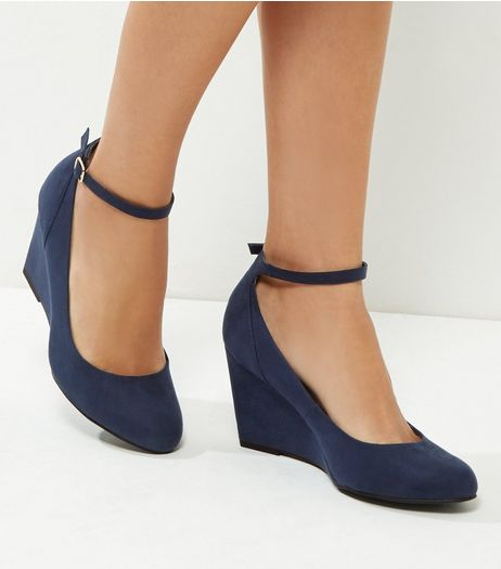 Wide Fit Comfort Navy Suedette Strap Front Wedges | New Look