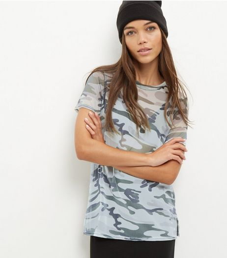 Green Camo Mesh T-Shirt | New Look