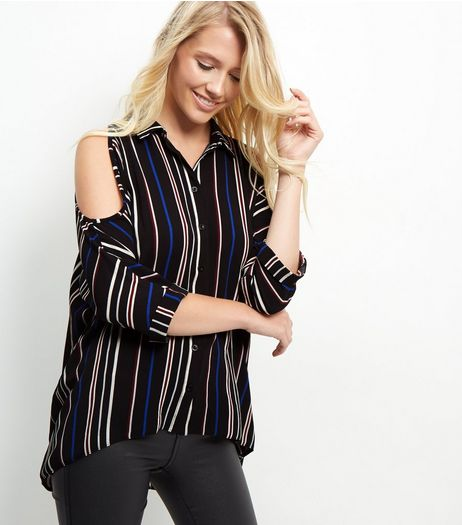 Blue Stripe Cold Shoulder Shirt | New Look