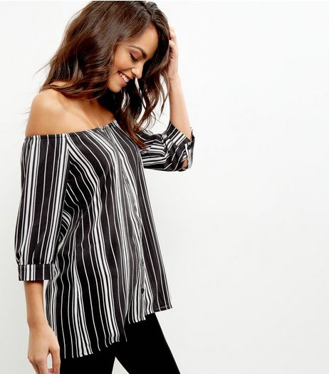 Black Stripe Button Front Bardot Top | New Look