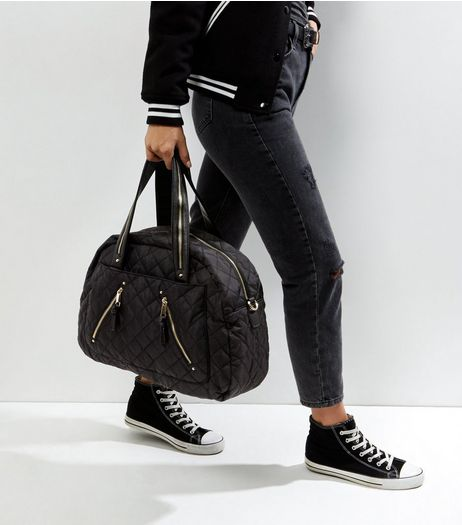 Black Quilted Tote Bag  | New Look