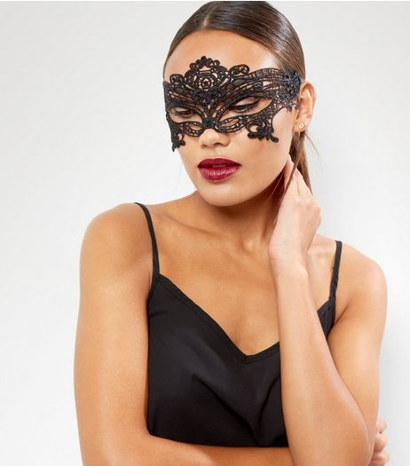 Black Halloween Lace Mask  | New Look