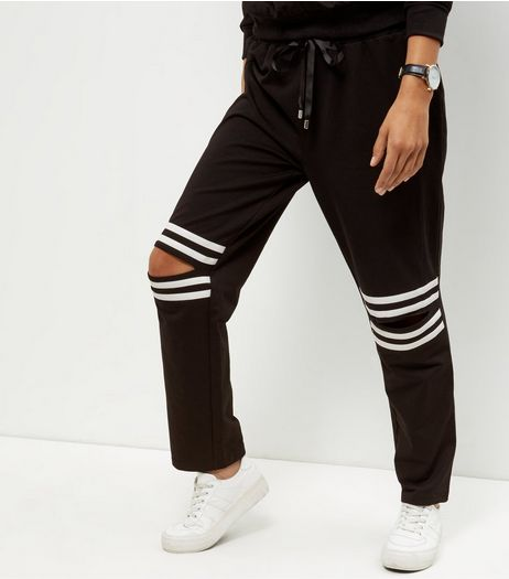 Cameo Rose Black Ripped Knee Joggers | New Look