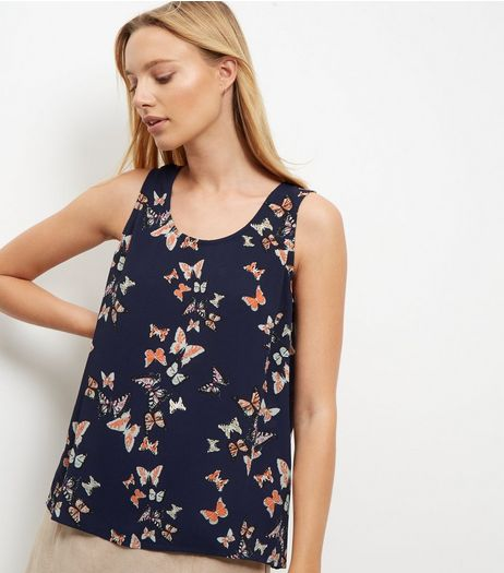Cameo Rose Blue Butterfly Print Zip Back Vest | New Look