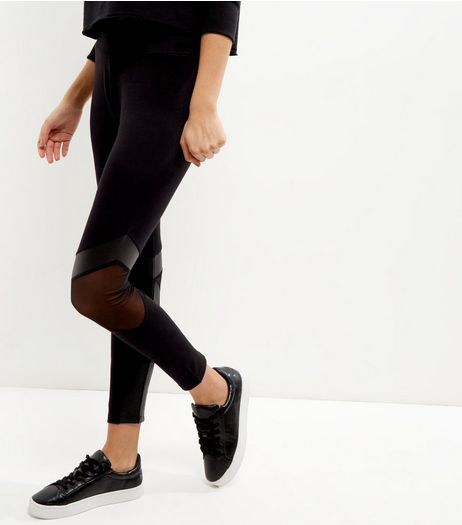 Black Mesh Panel Cotton Mix Sports Leggings | New Look
