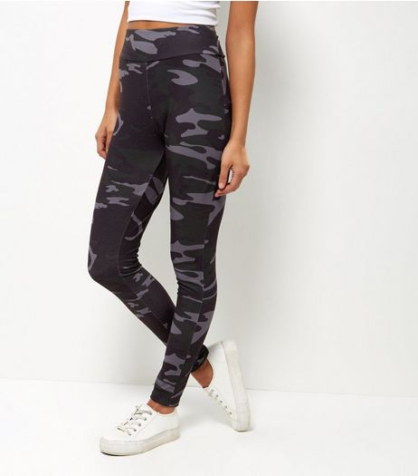 Black Camo Print Leggings | New Look