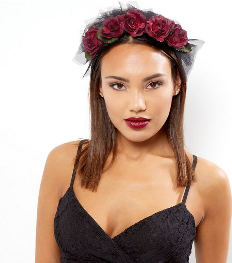 Black Lace Floral Halloween Headband  | New Look
