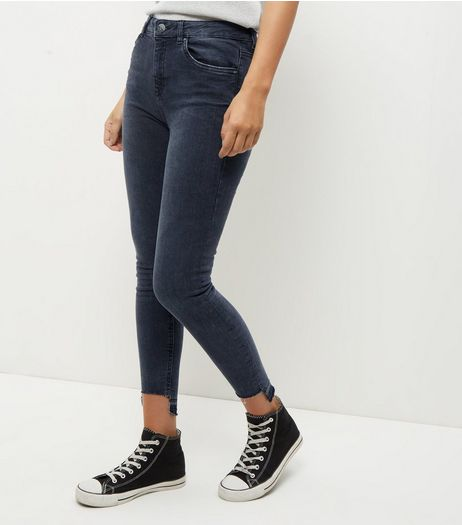 Black Cut Hem Skinny Jeans | New Look