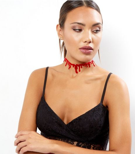 Dark Red Halloween Choker | New Look