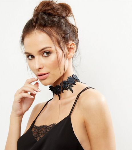 Black Lace Flower Choker | New Look