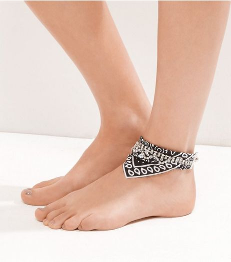 Black Diamante Bandana Layered Anklet | New Look