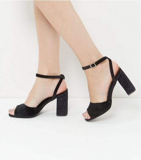 Black Vevlet Ankle Strap Flared Heels  | New Look