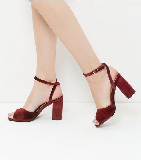 Red Velvet Ankle Strap Block Heel Sandals | New Look
