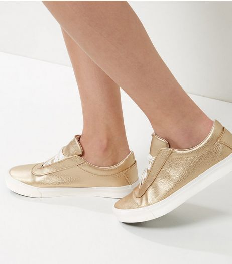 Gold Lace Up Plimsolls | New Look