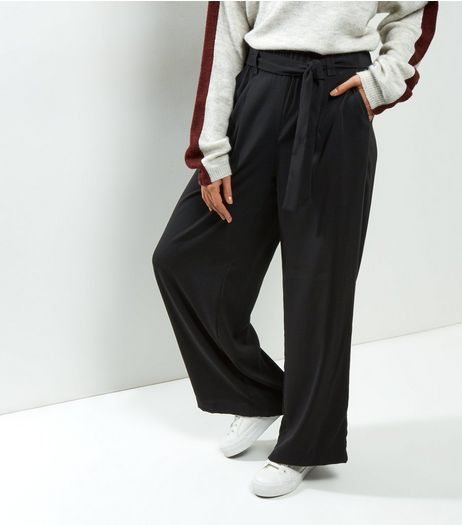 Black Self Tie Wide Leg Trousers | New Look