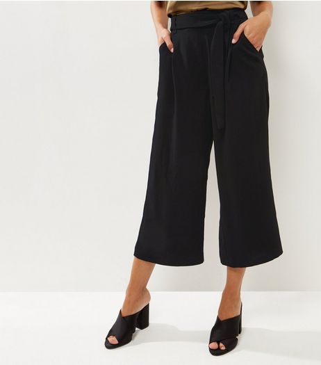 Black Self Tie Wide Crop Trousers | New Look