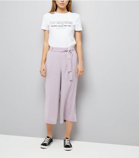 Lilac Tie Waist Cropped Trousers | New Look