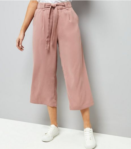Mid Pink Tie Waist Culottes | New Look