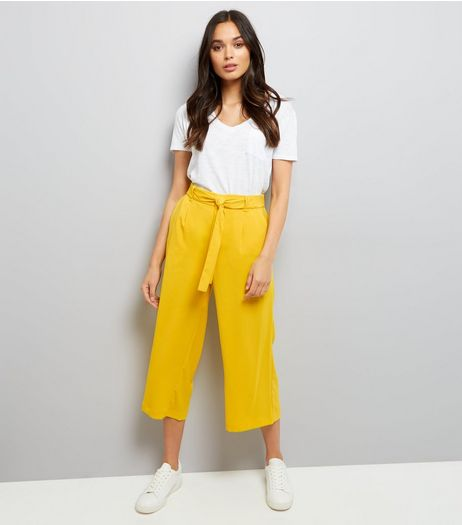 Yellow Tie Waist Cropped Trousers | New Look