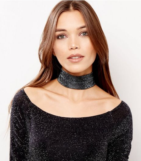 Black Wide Metallic Choker  | New Look