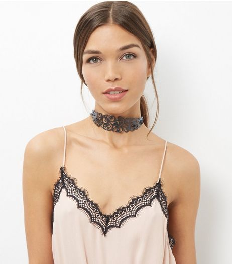 Black Filigree Floral Choker  | New Look