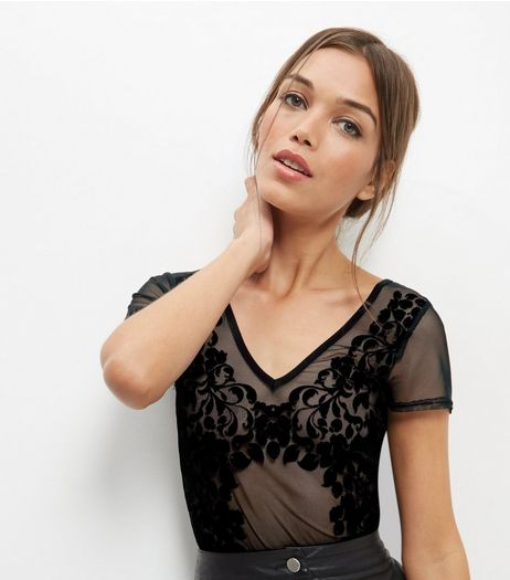 Carpe Diem Black Mesh Glitter Bodysuit | New Look