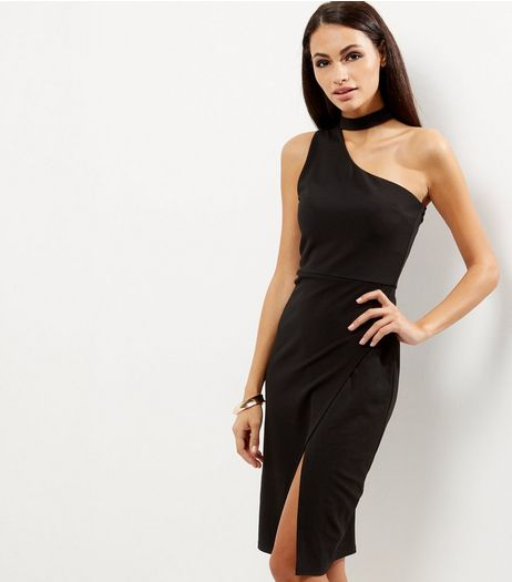 Black Choker Neck Off the Shoulder Bodycon Dress | New Look