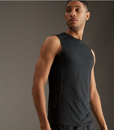 Black Stretch Sports Vest | New Look