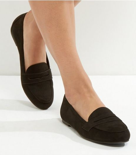 Black Suedette Loafers | New Look