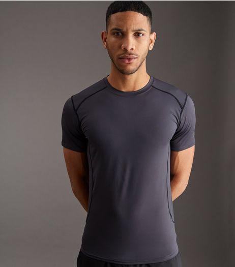 Dark Grey Stretch Short Sleeve Sports T-shirt | New Look
