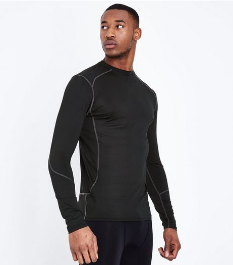 Black Long Sleeve Sports T-Shirt | New Look