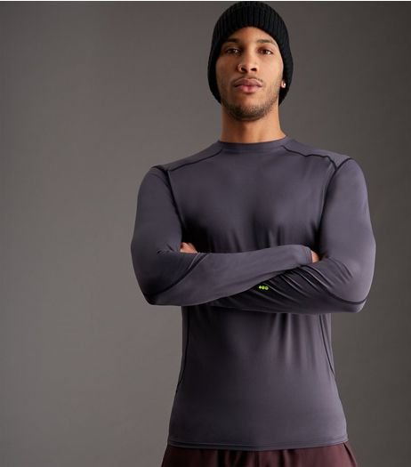 Dark Grey Long Sleeve Sports T-Shirt | New Look