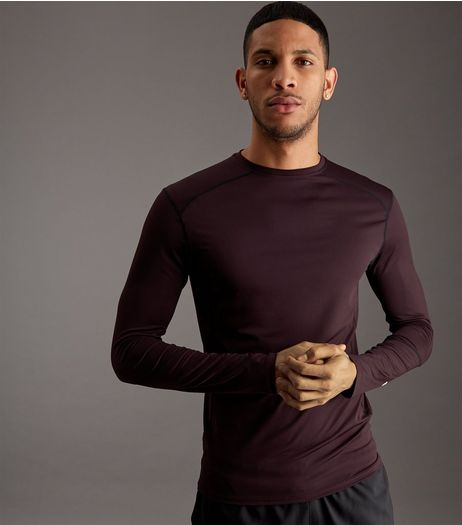 Burgundy Long Sleeve Sports T-Shirt | New Look